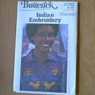 Vintage Butterick Pattern 4783 Indian Embroidery 1 size Uncut