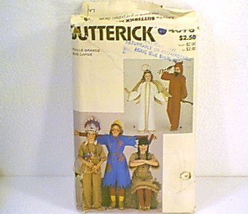 Angel Devil Indian Scarecrow Costume Pattern Butterick #4073 Size kids large Cut