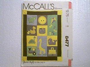 Crib Quilt Pillows Baby Infant Bed Set McCalls Pattern 8477 Uncut