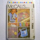 Baby Layette Quilt Bumper Bag Bib Hanging Mobile McCalls Pattern 7268 Cut