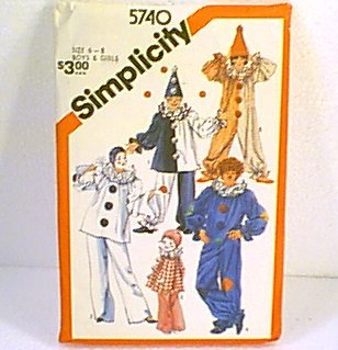 Clown Jester Costumes Kid Size 6 - 8 Simplicity Pattern 5740 Cut