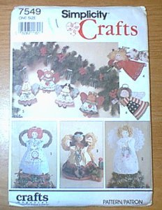 Angel Tree Topper or Freestanding Ornaments 2 Sizes Simplicity Pattern 7549 Uncut