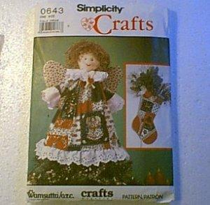 Wamsutta OTC Christmas Angel Doll Wreath Skirt Stockings Placemats Simplicity Pattern 0643 Cut