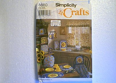 Shirley Botsford Sunflowe Kitchen Apron Mitts Placemats Curtain Covers Simplicity Pattern 8880 Uncut