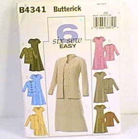 Sew Easy Dress & Jacket 6 Versions Sz 18 - 24 Butterick Pattern B4341 2004 Uncut