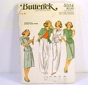 Rena Rowan Jones NY Misses Jacket Skirt Pants Butterick Pattern 5334 Sz 8 Uncut