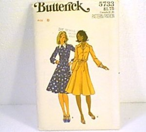 Misses Shirt Dress Sz 8 Butterick Sewing Pattern 5733 Uncut