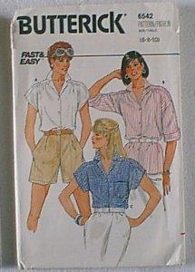Misses Blouse Top Butterick Sewing Pattern 6542 Sz 6 8 10 Uncut
