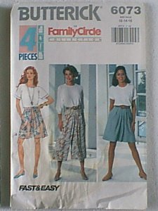 Misses Split Skirt 4 pcs Family Circle Butterick Sewing Pattern 6073 Sz 12 14 16 Uncut