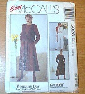 Womans Day Collection Cut to Fit Vest Dress Jumpsuit McCalls Sewing pattern 5028 Sz B 8 10 12 Uncut