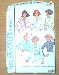 Misses Tops Blouse with Alphabet Transfer McCalls Sewing Pattern 5459 Sz 14 Bust 36 Uncut