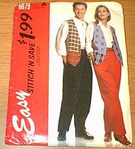 Lined Vest & Pants Stitch n Save McCalls Sewing Pattern 6079 Men Boy Woman XS S Med Uncut