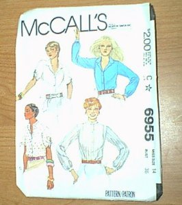 Misses Tops Tie Sleeves McCalls Sewing Pattern 6955 Sz 14 - 36 Cut