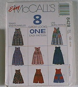 8 in 1 Jumper Romper Toddler Sz 2 3 4  McCalls Swing Pattern 8428 Uncut