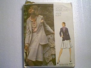 Anne Klein Vogue Americana Misses Suit Jacket Skirt Sewing Pattern 2825 Sz 14
