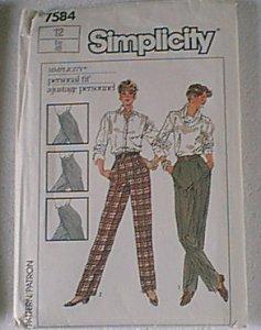 Misses Pants Slacks Simplicity Sewing Pattern 7584 Sz 12 Uncut