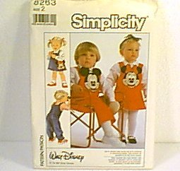 Toddler Disney Jumper Overalls Bag Wax Transfers Simplicity Sewing Pattern 8263 Sz 2 Uncut