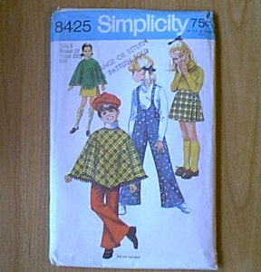 Child Poncho Skirt Bell Bottom Suspender Pants Simplicity Sewing Pattern 8425 Sz 8 Girl Uncut
