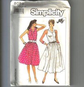 2 Jiffy Misses Dresses Adjustable to Miss Petite Simplicity Sewing Pattern 8059 Sz 10 - 16 Uncut