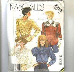 Ladies Tops Blouse McCalls Sewing Pattern 2218 Sz 14 Uncut