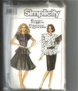 Misses Skirt & Fitted Top Blouse Simplicity Sewing Pattern 8432 Sz 6 8 10 Uncut