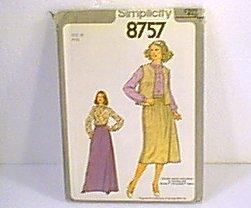 Misses Blouse Top Skirt Vest 2 Lengths Simplicity Sewing Pattern 8757 Sz 10 Miss Uncut
