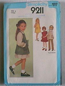 Childs Dress Sundress Jumper Pants Simplicity Sewing Pattern 9211 Sz 3 Child  Uncut