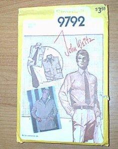 Mens Shirt Jacket Ascot Tie Simplicity Sewing Pattern 9792 Sz 40 Men Cut