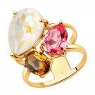 "Ring ""Aurora"" ry SOKOLOV 925 sterling silver gilding Swarovski crystal jewelry gift"