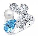 "Ring ""Sparkling Butterfly"" ry SOKOLOV 925 sterling silver Swarovski crystal jewelry gift"