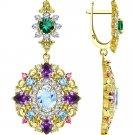 "Earrings ""Royal Star"" SOKOLOV 925 sterling silver gilding crystal Zirconia jewelry gift"