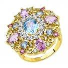 "Ring ""Royal Star"" SOKOLOV 925 sterling silver gilding crystal Zirconia jewelry gift"