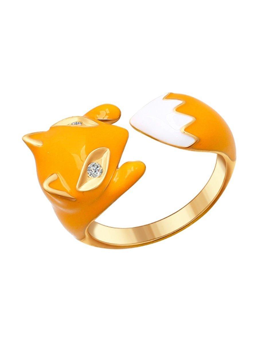 "Ring ""Red fox"" SOKOLOV 925 sterling silver crystal Zirconia enamel jewelry gift"
