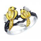 "Ring ""Golden Bird"" SOKOLOV 925 sterling silver crystal Zirconia citrine jewelry gift"