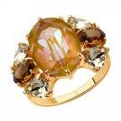 "Ring ""Golden Cloud"" ry SOKOLOV 925 sterling silver Swarovski crystal jewelry gift"