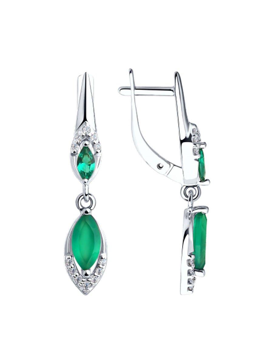"""Earrings """"Emerald Pleasure"""" SOKOLOV 925 sterling silver green agate crystal Zirconia  jewelry gift"""