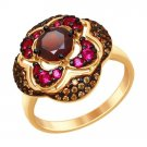"""Ring """"Delicious Pomegranate"""" SOKOLOV 925 sterling silver garnet crystal Zirconia  jewelry gift"""
