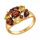 "Ring ""Honey Meadow"" SOKOLOV 925 sterling silver  gilding garnet  crystal Zirconia  jewelry gift"