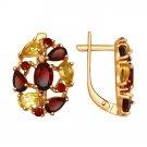 """Earrings """"Honey Meadow"""" SOKOLOV 925 sterling silver gilding garnet crystal Zirconia  jewelry gift"""