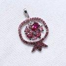 "Pendants ""Pink Pomegranate "" SOKOLOV 925 sterling silver crystal Zirconia  jewelry gift"