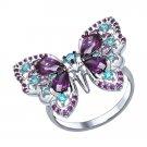 "Ring ""Purple Butterfly"" SOKOLOV 925 sterling silver crystal Zirconia jewelry gift"