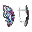 """Earrings """"Purple Butterfly"""" SOKOLOV 925 sterling silver crystal Zirconia jewelry gift"""