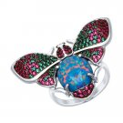 "Ring ""Fashion Beetle"" SOKOLOV 925 sterling silver Opal crystal Zirconia jewelry gift"