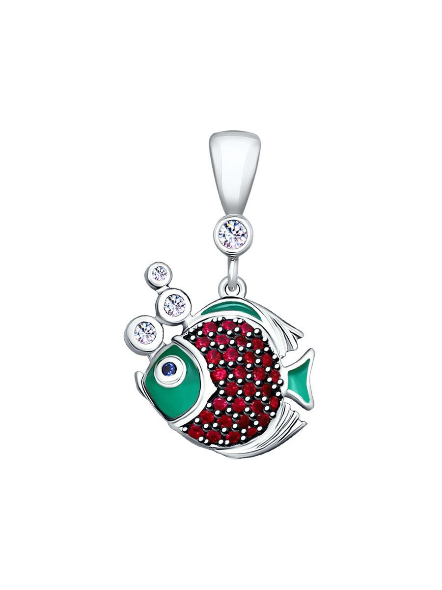 "Pendants ""Small Fish"" SOKOLOV 925 sterling silver Corundum Enamel crystal Zirconia jewelry gift"