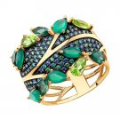"""Ring """"Emerald Garden"""" SOKOLOV 585 red gold Agate Chrysolite Sital Zirconia jewelry gift"""