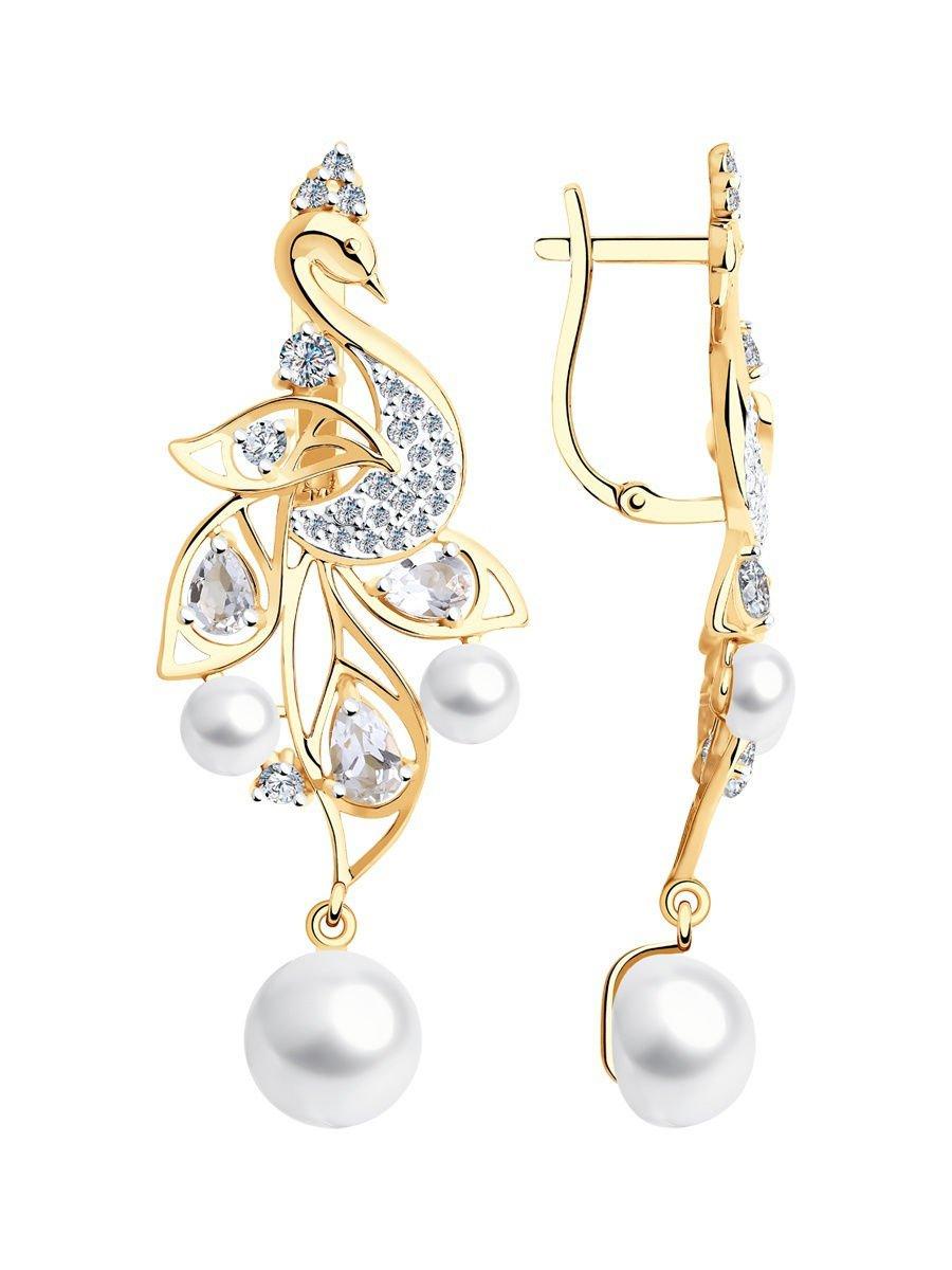 "Earrings ""White Swan"" SOKOLOV 585 red gold Pearls Topaz Zirconia jewelry gift"