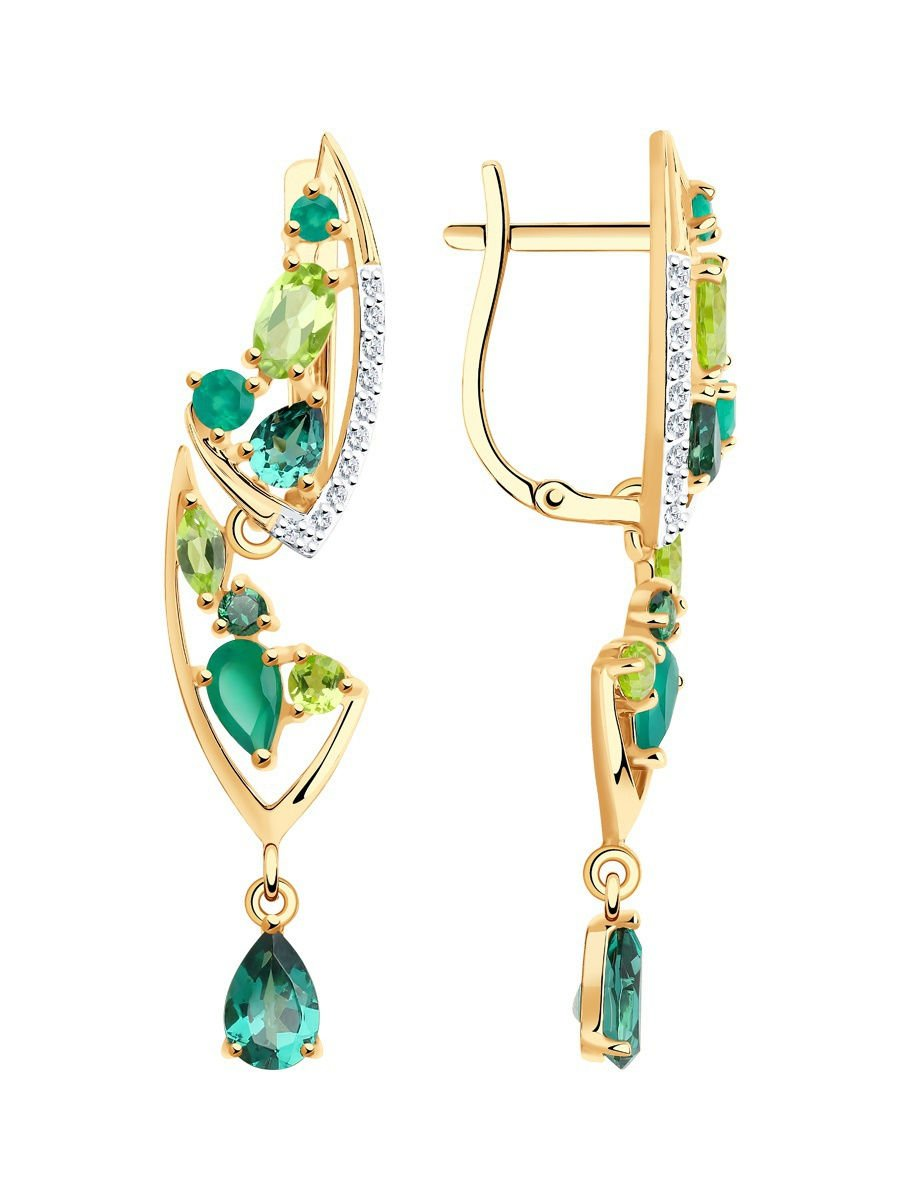 "Earrings ""Emerald Branch"" SOKOLOV 585 red gold Agate Chrysolite crystal Zirconia jewelry gift"