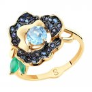 "Ring ""Bright Flower"" SOKOLOV 585 red gold Agate, Topaz, crystal Zirconia jewelry gift"