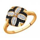 "Ring ""Black Diamond"" SOKOLOV 585 red gold diamond jewelry gift"