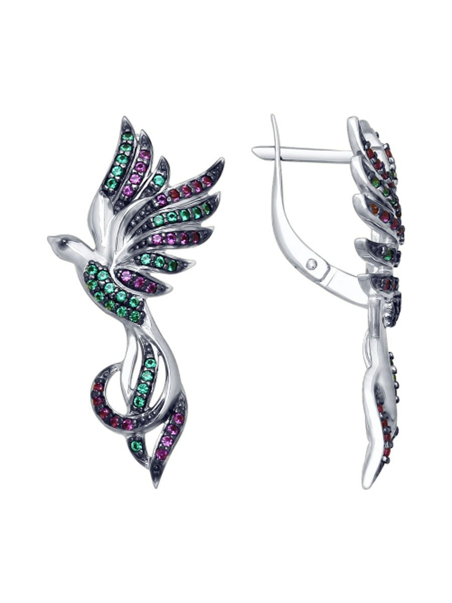 "Earring Pendant Ring ""Bird of Happiness"" SOKOLOV 925 sterling silver enamel Zirconia jewelry gift"